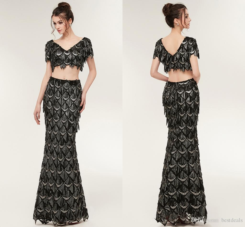 New Arrival Luxury Black Two Pieces Prom Dresses Mermaid Beading ...