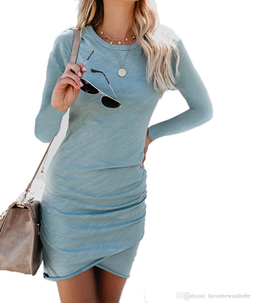 0e302183db Women's Long Sleeve Elastic Side Shirring Bodycon Dress Ruched Short Mini  Dresses