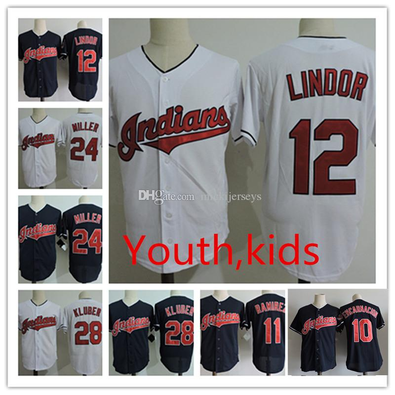 Youth 11 Jose Ramirez Cool Base Jersey Kids 12 Francisco Lindor 24 ... 63e8ef4f1