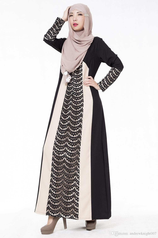 Женщины плед PlainLong рукавом мусульманские исламские абайя кружева трапеция макси платье 4 цвета DK723MZ Бесплатная доставка Dropshipping