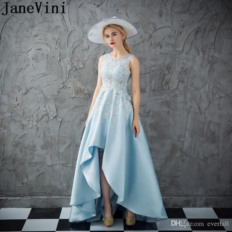 ec17e6bc1f604d JaneVini Sky Blue Short Front Long Back Prom Dresses 2018 With Crystal  Beaded Lace High Low Evening Formal Dress Lebanon Satin Party Dress  Princess Prom ...