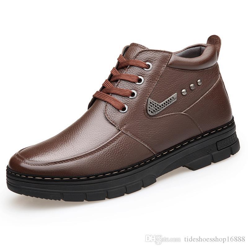 Cuir Neige Laine D'hiver Mode En Des Chaud De Hommes Bottes Véritable Peluche Chaussures Imperméables Confortable 8nOPX0wk