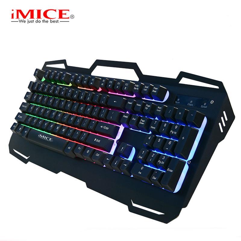 09a8c7d9477 Mechanical Feel Backlight Gaming Keyboard USB Computer Wired Metal Base LED  Backlit Teclado Keyboard Gamer For CSGO LOL Dota 2 Portable Bluetooth  Keyboard ...