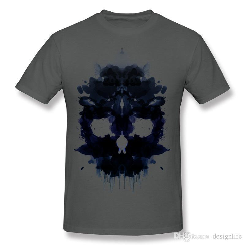 Special Men Cotton Fabric Rorschach Skull dark Tee-Shirts Men Round Neck Black Short Sleeve Slim Fit t shirt Big Size Personalized Tee-Shirt