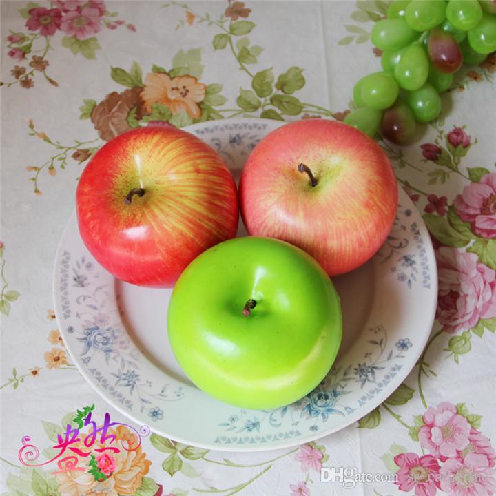 8.5cm Artificial Green Apple Fruits Simulation Apple rojo decoración del hogar del banquete de boda decoraciones suministros
