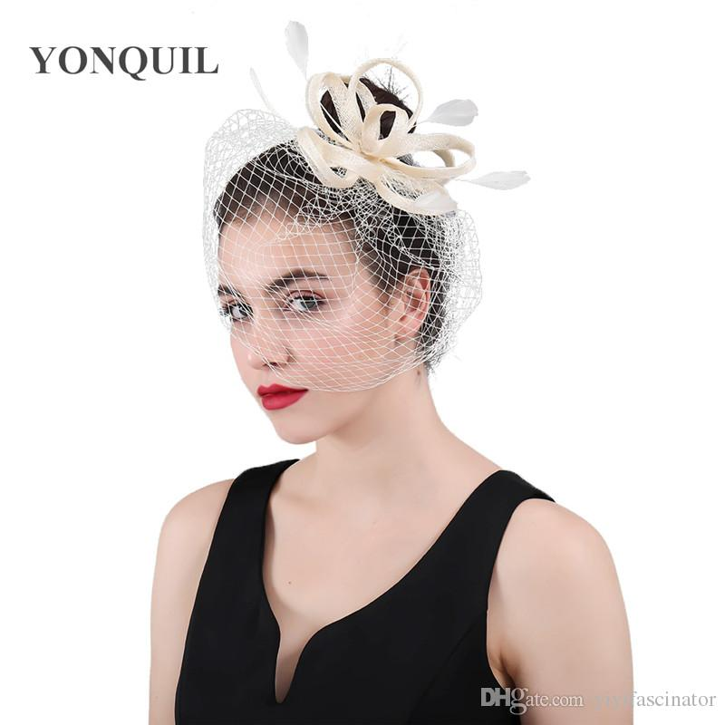 7d2c080b 2018 New Ivory Or Multicolors Veils Bridal Fascinator Beauty Bow ...