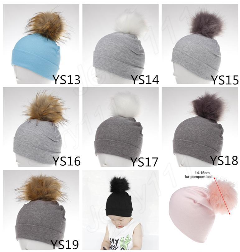 231415bcef1 2019 Cotton Baby Hat Faux Fur Ball Caps Child Autumn Boy Girl Cap Faux Fur  Children Hat Newborn Fur Ball Cap Children Beanie LE120 From E popshop