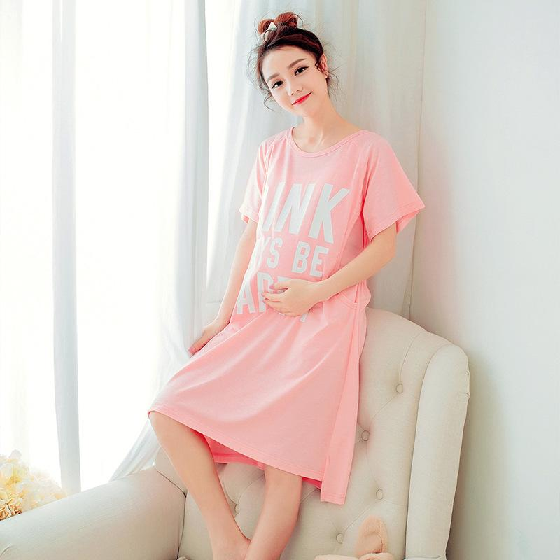 f696d287f79d Летняя мода материнства уход ночная рубашка письмо печатных пижамы пижамы  ...