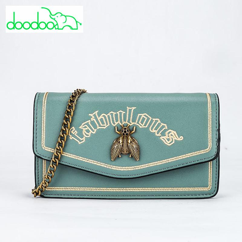 2018 Newest Chain Shoulder Messenger Bags Bee Logo Designer Women Clutch Handbags Fashion Embroidery Letter Crossbody Bags Purse