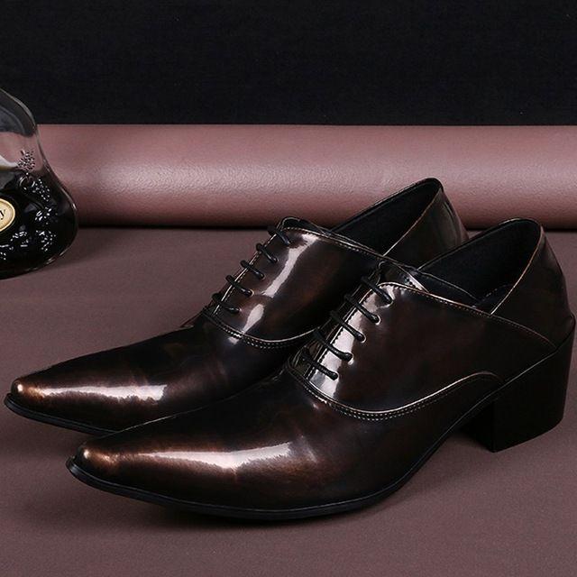 5cb5cc7d39d5f Plus Size Tan Vintage Pointed Toe Lace up Man OxfordsItalian Designer  Genuine Leather High Heels Runway Party Men's Shoes