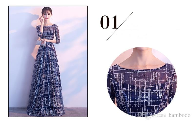 2018 new factory outlet elegant fashion long gown show Thin party host annual evening dress girl