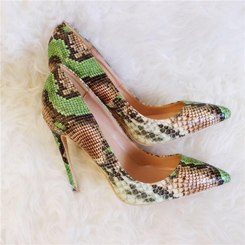 Sexy Blingbling De Fiesta Dedo Pie Tacones Tacón Alto Stilettos Mujeres Verde Pitón Altos Bombas Zapatos Del Serpiente Punto I76bYvfyg