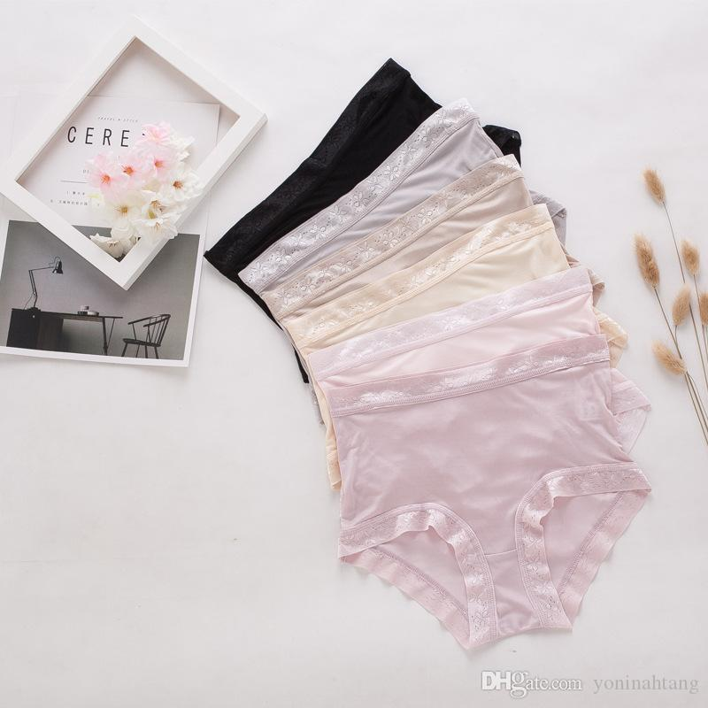 c04ab3d61a6 Wholesale Heavy 100% Pure Silk Panties Sexy Mid Waist Lace Underwear ...