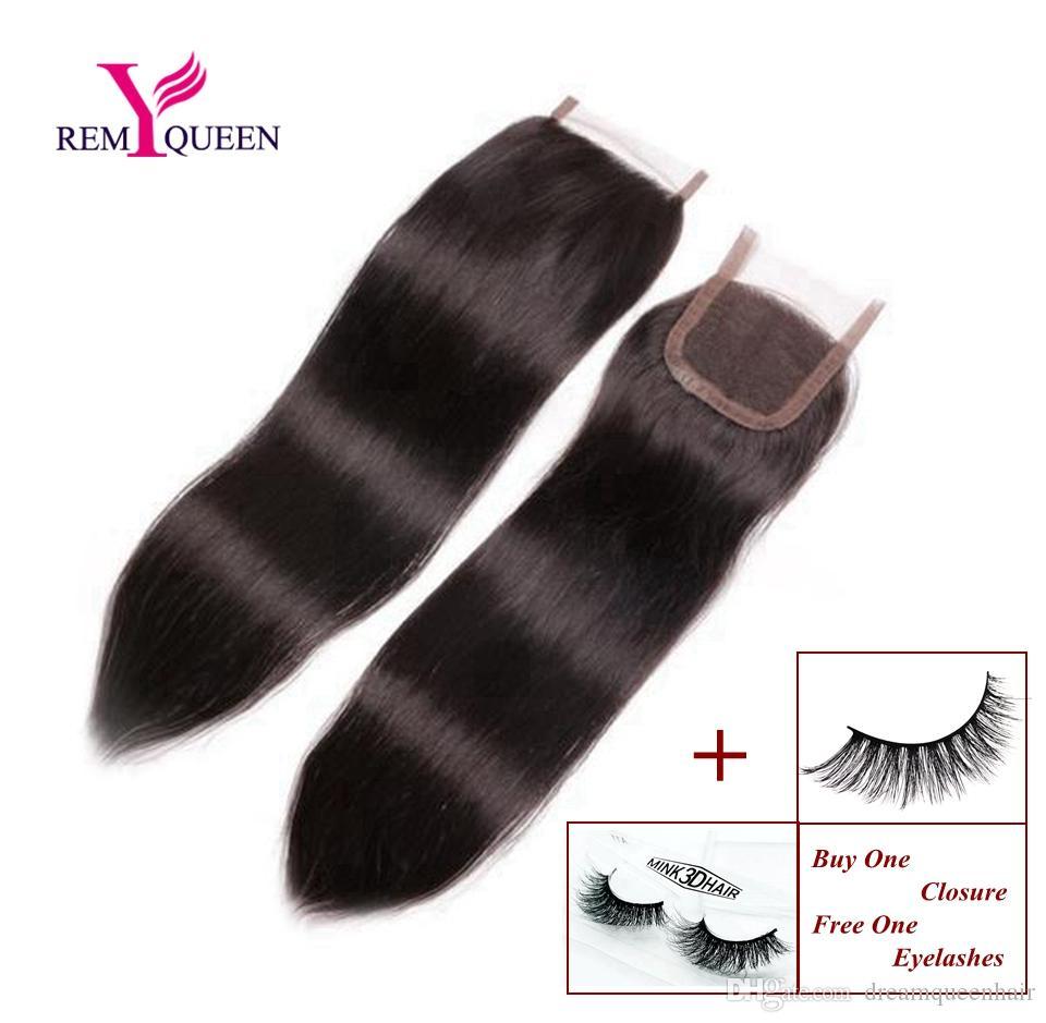 Мечта Реми Королева бразильские девственные человеческие волосы прямые свободные средние три части кружева закрытие 4x4 дюйма швейцарский или Frence кружева 120% плотность