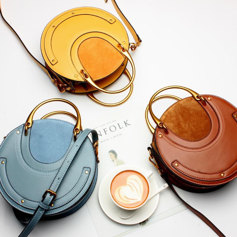 2018 sac à main en cuir de mode en cuir rétro portable sac rond sac à bandoulière rivet sac Messenger 5 couleurs Candy en option
