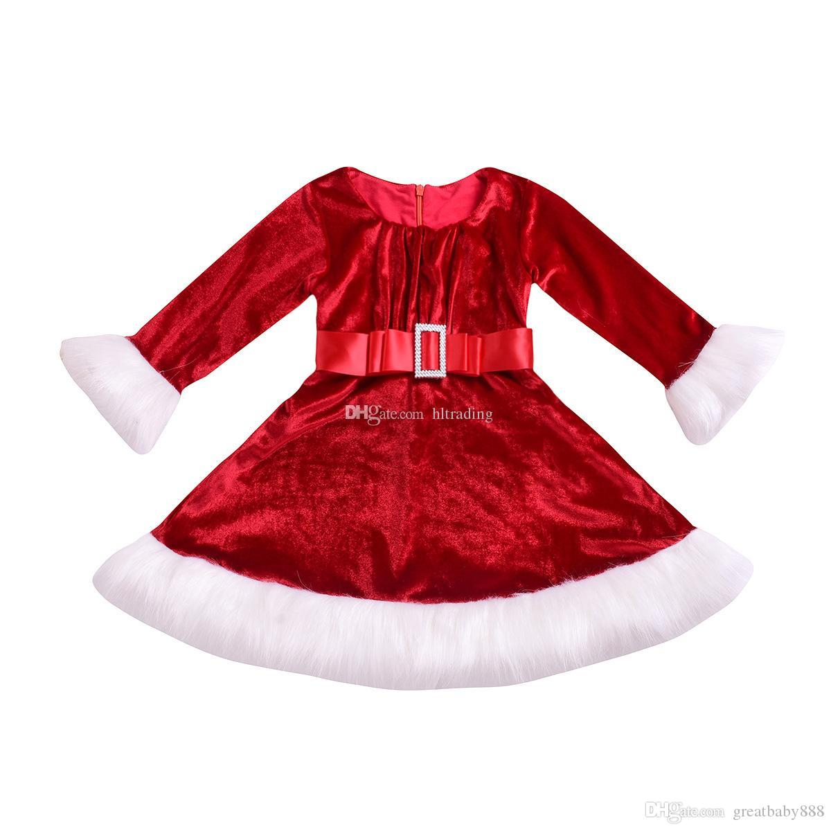 abfafc9e2d1 Acheter Bébé Filles Noël Or Robe De Velours Enfants Robe De Noël Arc  Ceinture Robes De Princesse Printemps Automne Boutique De Mode Pour Enfants  Vêtements ...