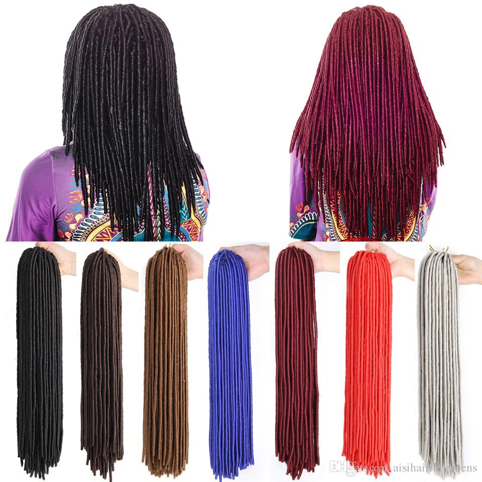 2018 Synthetic Pure Color Faux Locs Crochet Hair 20 Inch 20strands