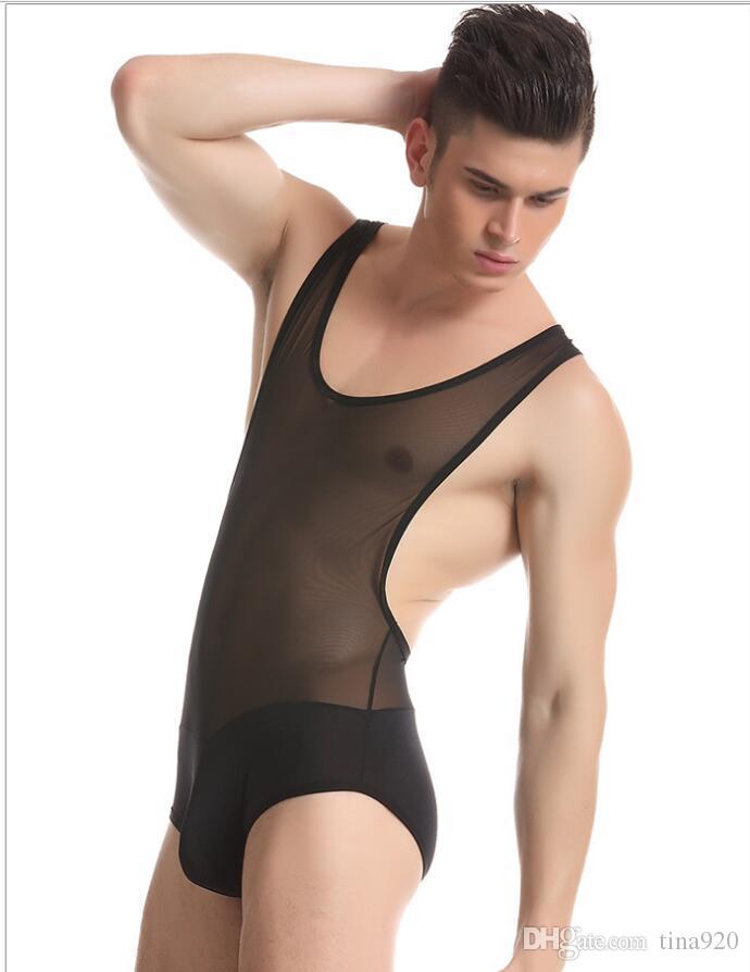 مثير نايلون شير الرجال اللياقة البدنية الملتصقة سترة شبكة رقيقة شفافة الجسم المشكل الرجال داخلية الذكور داخلية حللا