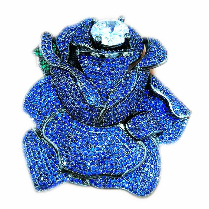 Blue CZ Micro Crystal Pave Rose Flower Jewelry Brooch Connector 60x62mm