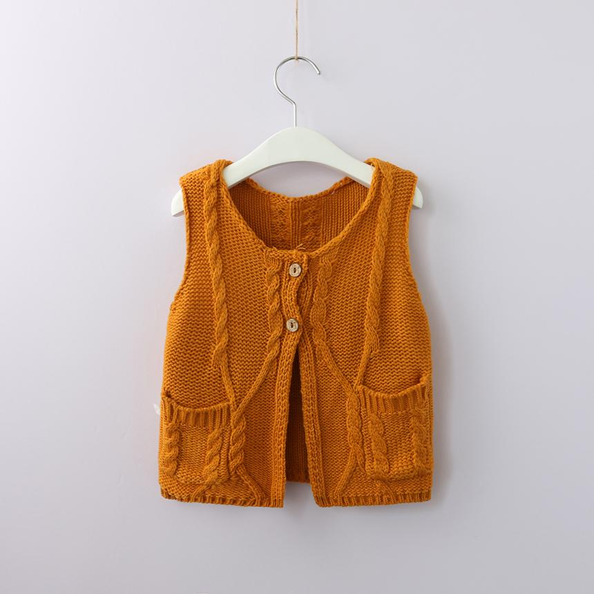 bc51163471a9 Kids Girl Cable Knitted Sweater Vest Toddler Girl Fashion Cardigan ...