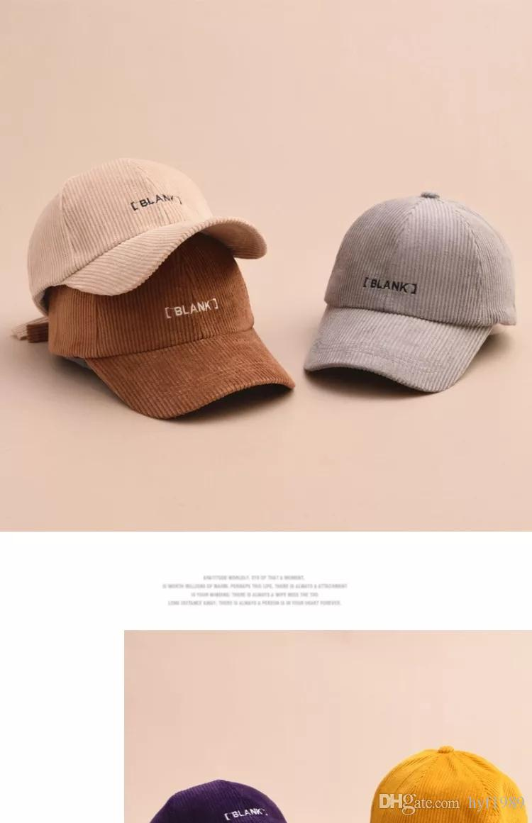 437bf40466a784 2019 Cap Female Autumn Winter Letter Embroidery Baseball Cap Korean Version  Joker Corduroy Duck Cap Hipster Student Casual Hat Male From Hyf1989, ...
