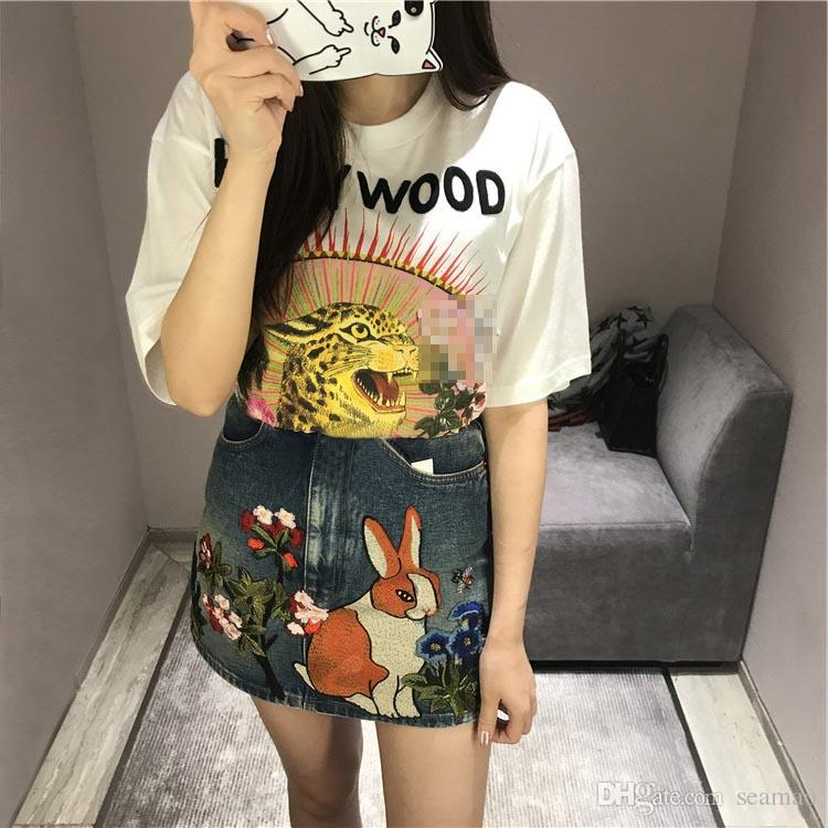 7d7f8b396a6 Rabbit Floral Embroidery Jeans Skirt 2018 Spring Summer Fashion 100% Cotton  High Waisted Laides Skirt A LINE Mini Skirt Online with  40.0 Piece on  Seamao s ...