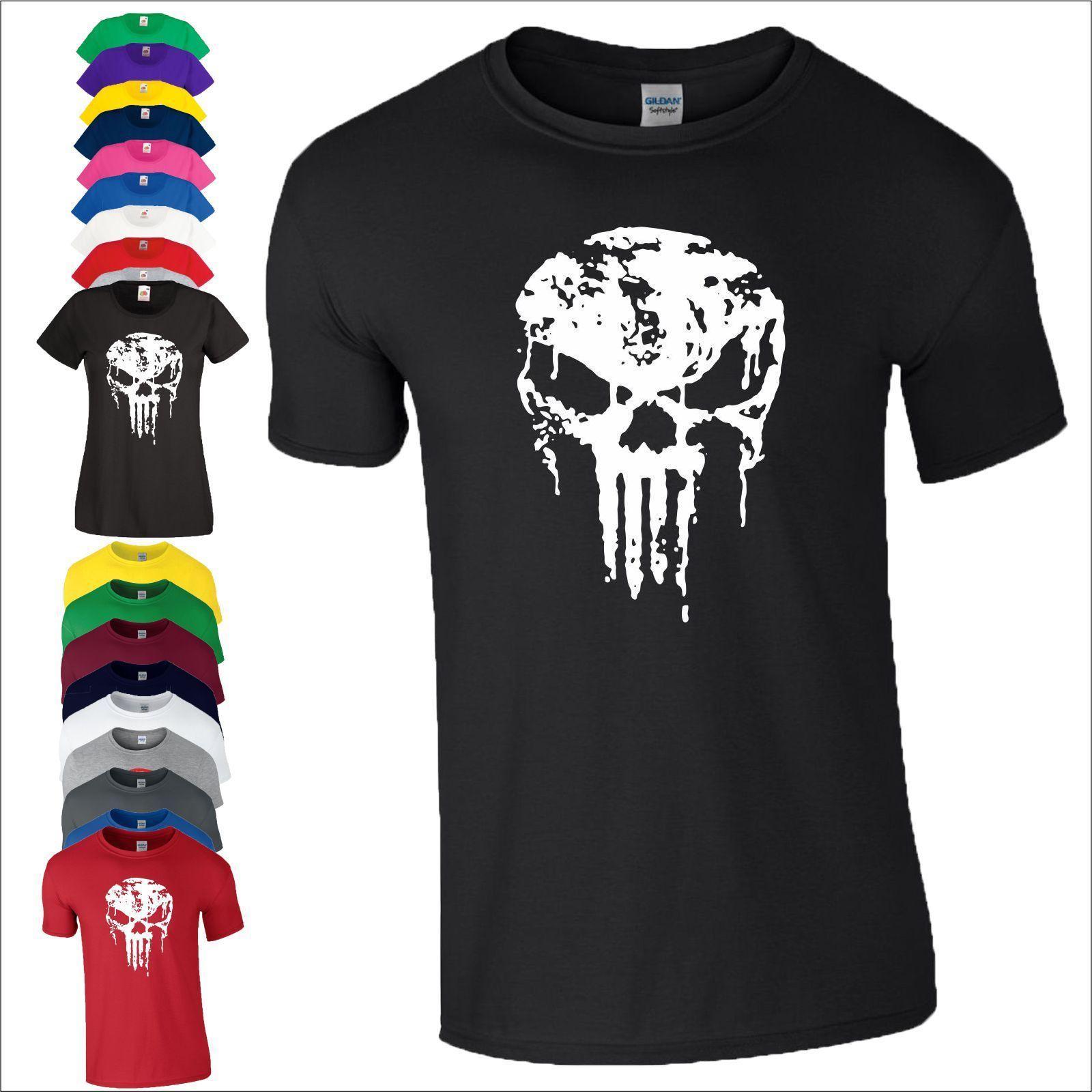 Punisher Skull T Shirt Crossfit Gym Fitness Mma Fight Marvel Gift ...