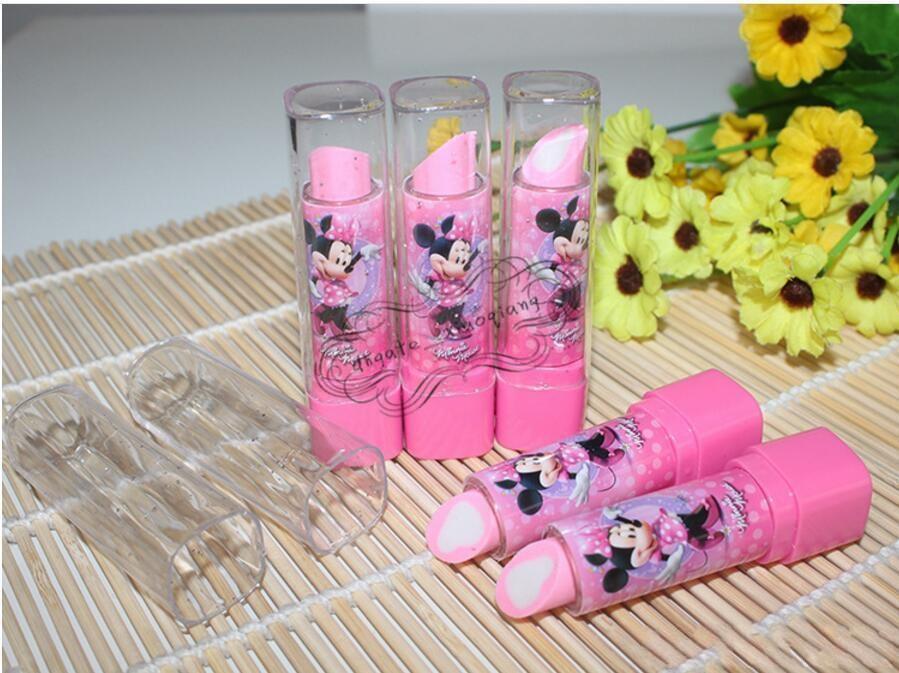 Lipstick Shape Rotary Rubber Eraser Stationery Children Stundent Prize Hello Kitty Fruit Cartoon Style Erasers Office School Supplies