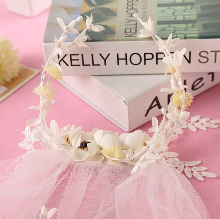 Yeni peri çiçek saç süsler takı düğün peçe saç bandı