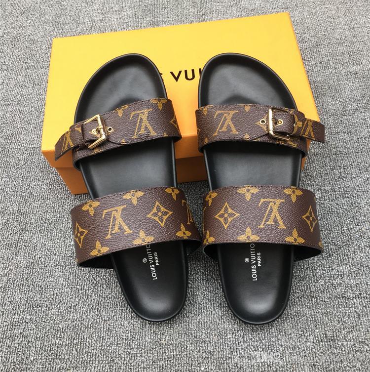 8abdcdb75e097b  2018 designer sandals women men sandals designer slides Brand striped  sandals causal summer huaraches slippers flip flops slipper 35-41