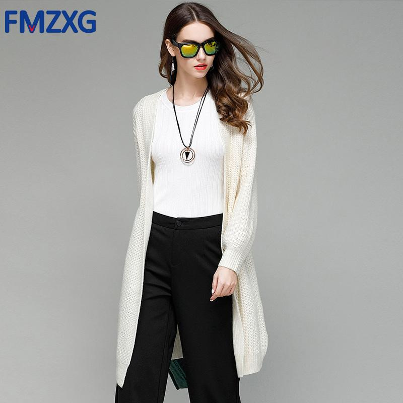 22d2353bf 2019 2018 OL Autumn Knitted White Elegant Sweater Cardigan Women Winter Knitwear  Jacket Loose Oversize Long Soft Sweater Jumper Coat From Guchen3
