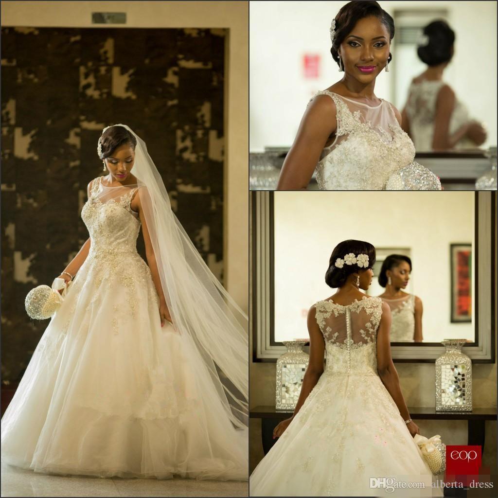 Vestios De Matrimonio Splendidi abiti da sposa Sheer Crew collo abiti da sposa in pizzo sudafricano arabo Dubai con bottone posteriore