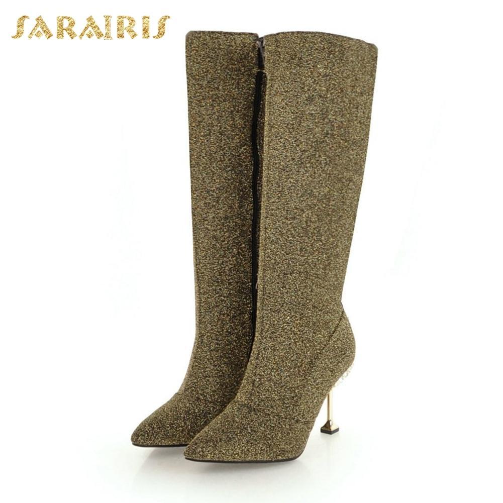 d42cfdde8 Compre SARAIRIS Novo Plus Size 32 43 Adicionar Botas De Inverno De Pele  Mulher Sapatos Venda Quente Zip Up De Salto Alto Na Altura Do Joelho Botas  Altas ...