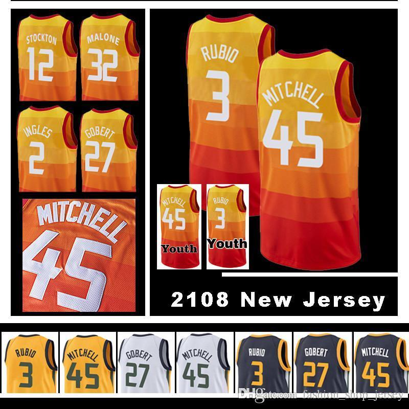 2018 45 Donovan Mitchell MEN S Utah Jazz 2018 NEW Rudy Gobert 3 Ricky Rubio  Joe Ingles Karl Malone High Quality Jersey 24 Grayson Allen From ... fc2d7a1cc