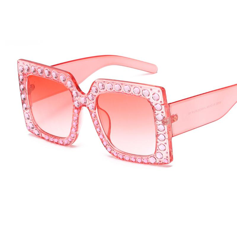 bf32bcef14 Crystal Square Women Sunglasses Pink Clear Diamond Big Frame Sunglasses  Ladies Luxury Brand Sun Glasses Oversize Lunette Femme W105 Designer  Sunglasses ...