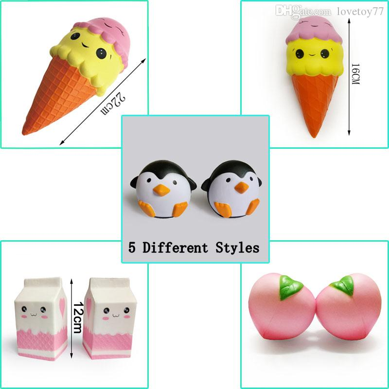 0f9bf1631480b Wholesale Jumbo Kawaii Squishy Ice Cream Male Penguins Peach Milk Box 5  Different Styles Lot Squishies Squeeze Toys