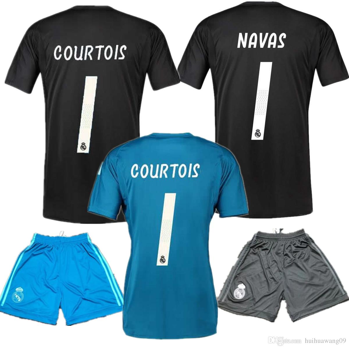 287d95a75d1cc 18 19 Real Madrid   25 Courtois Goalkeeper Jerseys   1 Keylor Navas Jersey  Camiseta Short 2018 19 13 Thibaut Courtois Madrid Blue Black Goalie Por ...