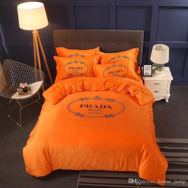 Großhandel Orange Pa Brief Pop Bettwäsche Kristall Samt Comfort Warme  Bettwäsche Set Helle Farben Schlafzimmer Winter Bettwäsche 4 Stück Von  House_jump, ...