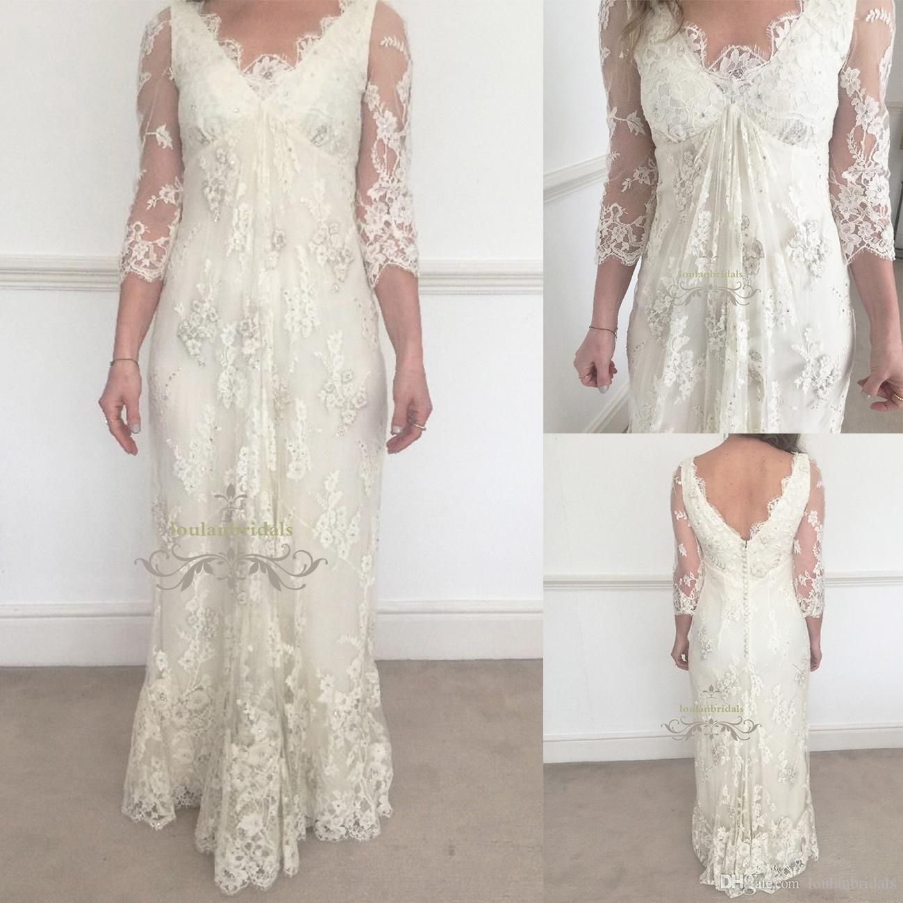 Long Lace V Neck 3/4 Sleeve Wedding Dress Beading Embroidery Lace ...