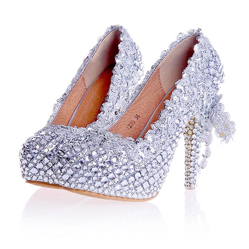 Women Wedding Silver Shoes Crystal Sequins Decor Pumps Lace Slip On ... 346b05d0e17