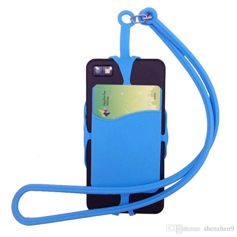 Card Bag Holder Silicone Lanyards Neck Strap Necklace Sling Card Holder Strap For iPhone X 8 Universal Mobile Cell Phone SCA436
