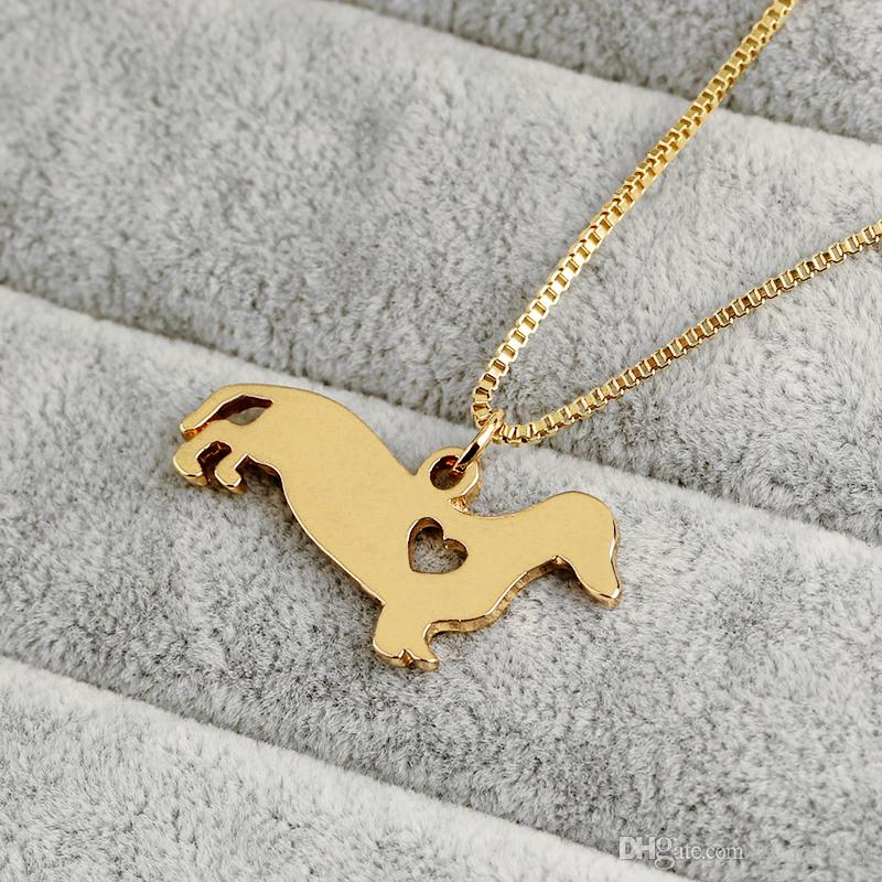 Pet Rescue Animal Lovers Jewelry Dachshund Necklace Silver Puppy Heart Cut Off Dog Breed Pet Memorial Charms Choker