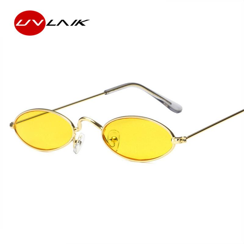 e65ba9e339 UVLAIK Vintage Small Oval Sunglasses Women Retro Brand Skinny Metal Frame  Sunnies Men Sun Glasses Red Yellow Cat Eye Eyewear Baby Sunglasses Designer  ...