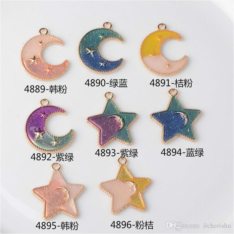 Новый японский и корейский эмаль сплава кулон Звезда Луна подвески для серьги ювелирные изделия решений мотаться бутик брелок bijoux мода diy