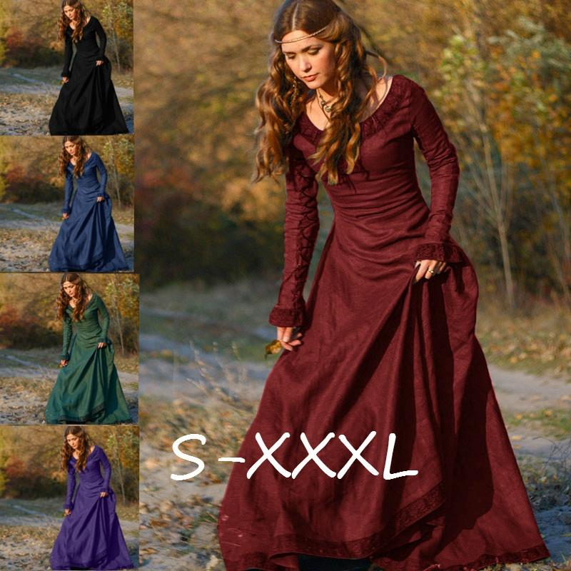 Autumn Vintage Style Women Fashion Medieval Linen Dress Cosplay