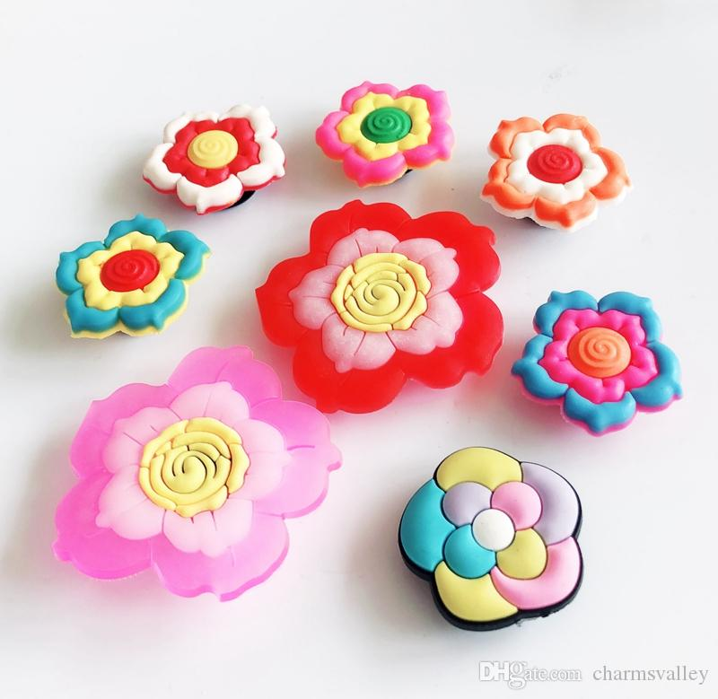7260015f93f6e Mixed Style PVC Flower Shoe Charms Accessory Fit DIY Cross Shoes Bracelet  Popular Streetsnap Kids Gifts