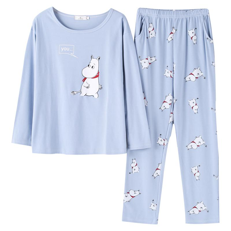 1352e7f4ed6 2018 Womens Pajamas Sleepwear Full Sleeve Animal Print Blue T Shirt And  Full Length Pajama Set Sleep Wear For Women Big Yard UK 2019 From Rudelf