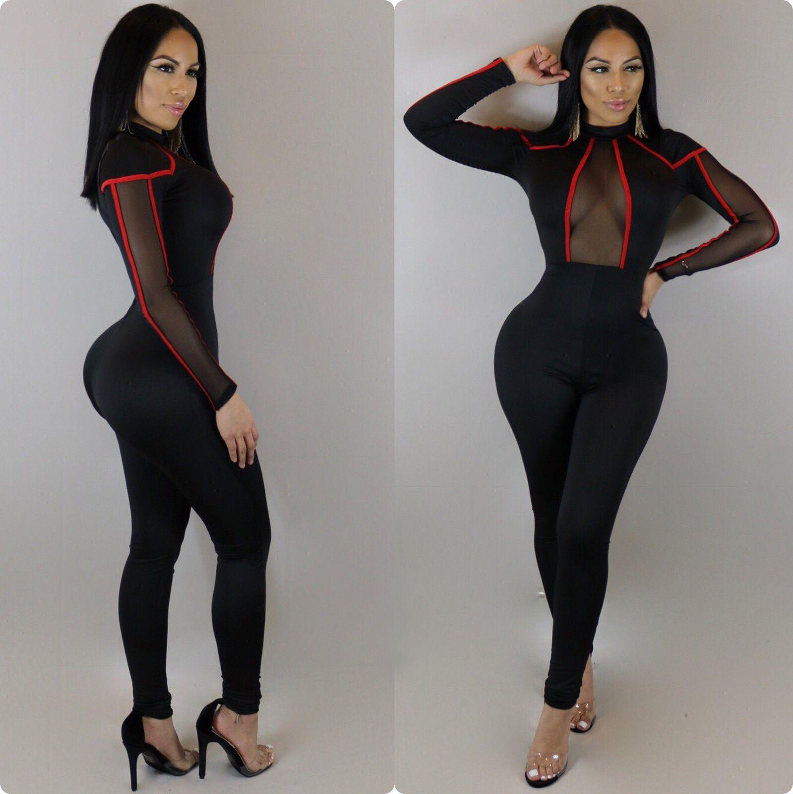 Hot Sale Joggers Bandage Jumpsuit Tracksuit Red Striped Sides Front Mesh Fashion Women Black Bodycon Jumpsuits