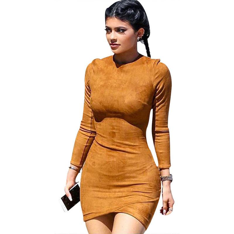 56d2ea045fd5 2018 Long Sleeve Slim Party Dress Sexy Club Brown Vestido Women Winter  Kylie Skin Tight Faux Suede Bodycon Dresses Dresses For Women Long White  Dresses With ...