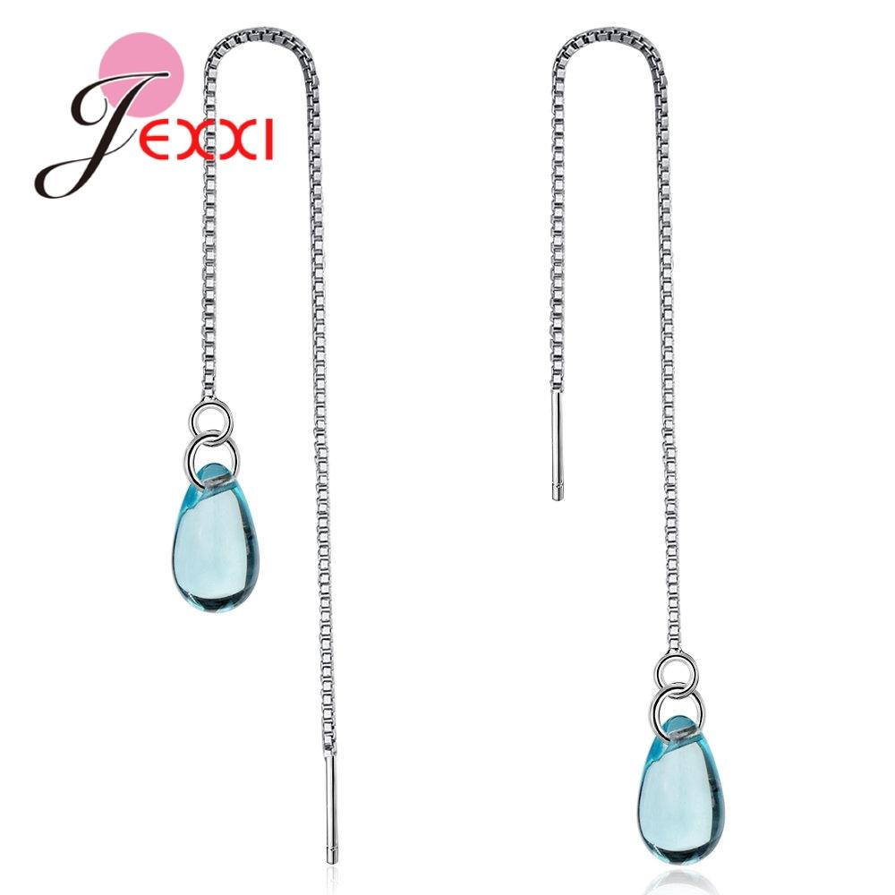 2018 Jexxi Simple High Quality Long Drop Earrings With Sparkling